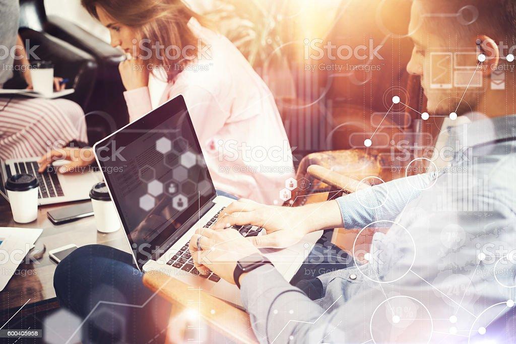 Global Strategy Connection Virtual Icon Graph Interface Diagram Marketing Research stock photo