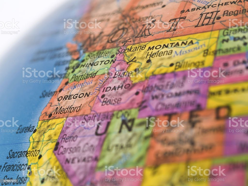 Global Studies - Focus on Oregon State stock photo