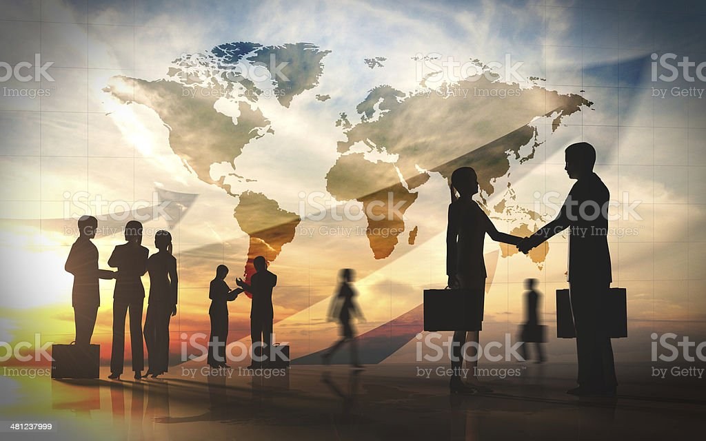 Global team business shake hand silhouettes city with world maps stock photo