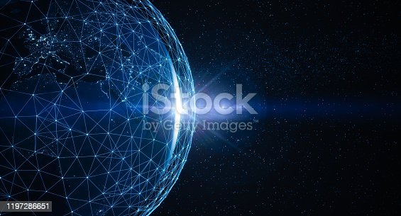 Futuristic Globe with connections, city lights and The Sun.