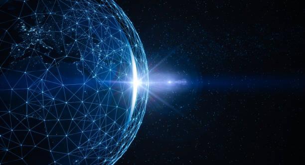 wereldwijd technologie-en communicatienetwerk (wereld kaart kredieten aan nasa) - ruimtevaart voertuig stockfoto's en -beelden