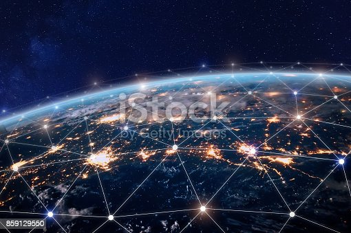 istock Global telecommunication network, nodes connected around earth, internet, worldwide communication 859129550