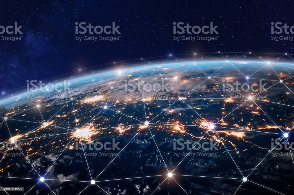 Global telecommunication network, nodes connected around earth, internet, worldwide communication - foto stock