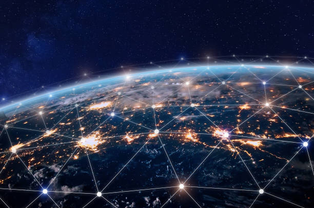 Global telecommunication network, nodes connected around earth, internet, worldwide communication stock photo