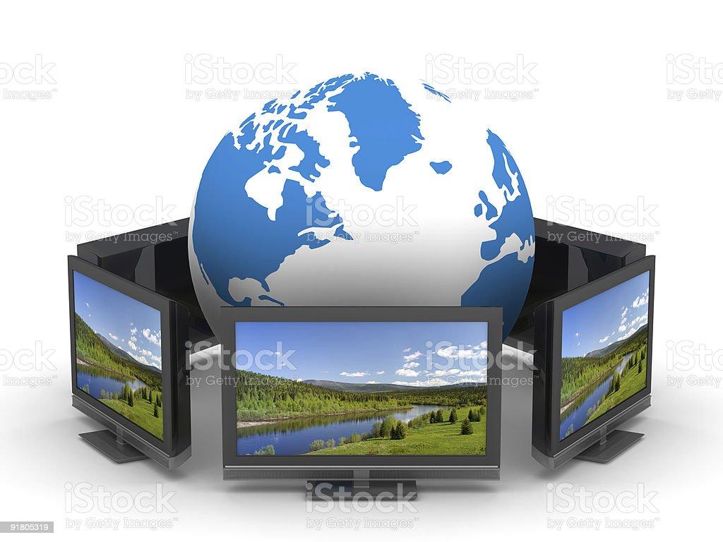 Global telecommunication on white background. Isolated 3D image royalty-free stock photo