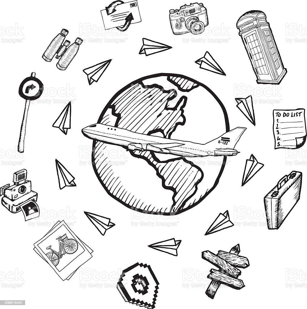Global tourism doodles stock photo
