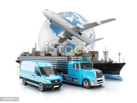 Globe, airplane, truck, cargo ship and van. Global air, sea and road transportation concept.
