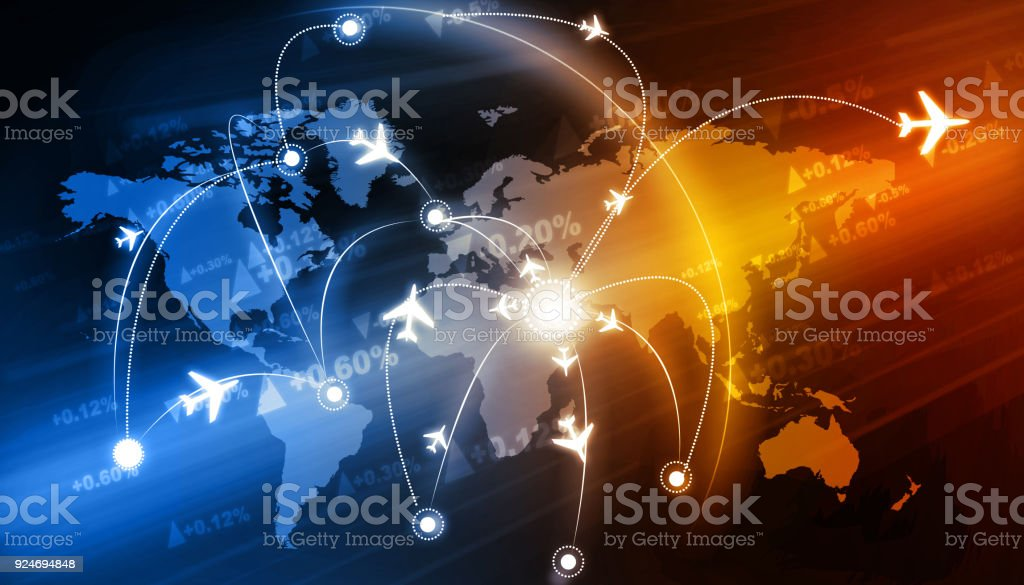 Global travel network stock photo