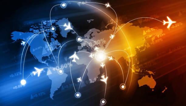 Global travel network stock photo