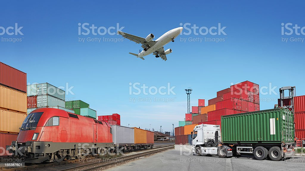 Global travel via cargo train, container ship, air stock photo