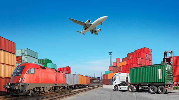 Global travel via cargo train, container ship, air stock photo