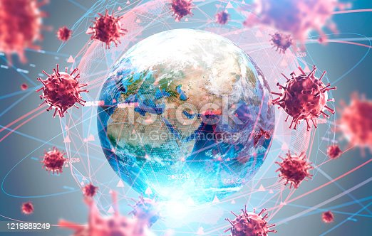 Coronavirus Asian flu ncov over Earth background and its blurry hologram. Concept of cure search and global world. 3d rendering toned image. Elements of this image furnished by NASA
