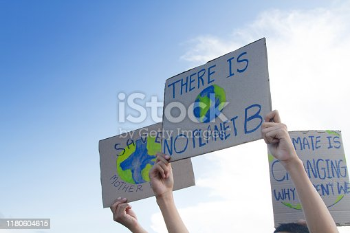 Group people of demonstration making protest about climate change, plastic pollution and forest fire for environmental problem