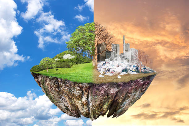 Global Warming and human waste ,Pollution Concept - Sustainability. Global Warming and human waste ,Pollution Concept - Sustainability.  showing the effect of arid land with tree changing environment, Concept of climate change. Sky background, different weather climate change stock pictures, royalty-free photos & images