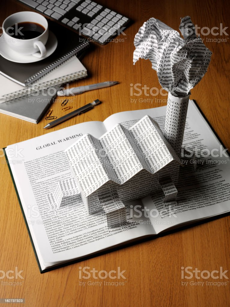 Global Warming Book and  a Office royalty-free stock photo
