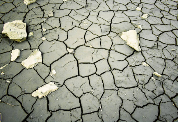 Global Warming Concept Dry Up Cracked Lake Bed Desert Wasteland Western Style stock photo