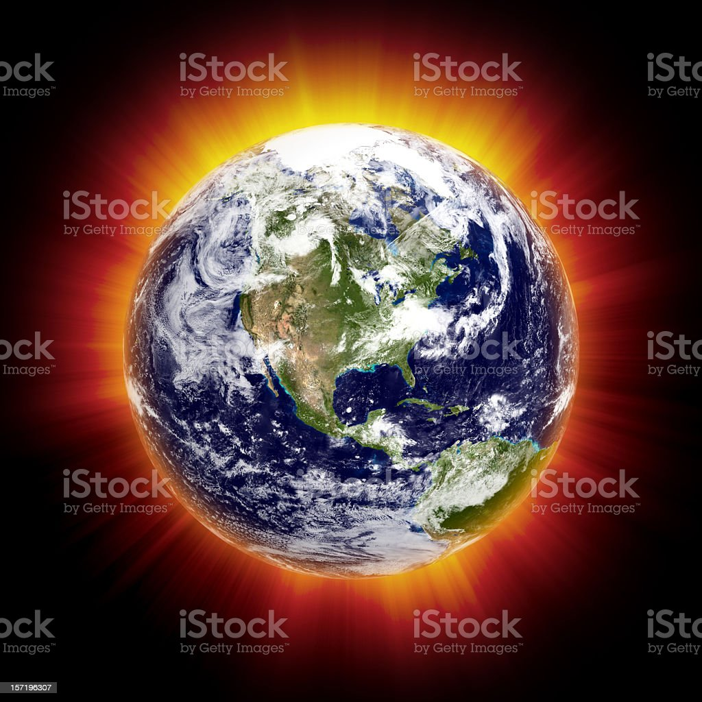 Global Warming Concept II: North America (Isolated) stock photo