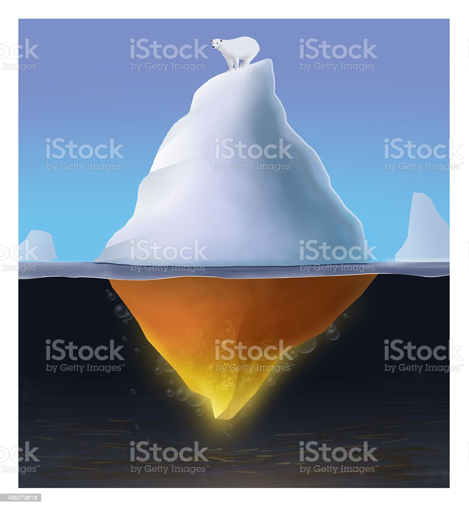 Global warming. Defrosted iceberg with polar bear on top stock photo