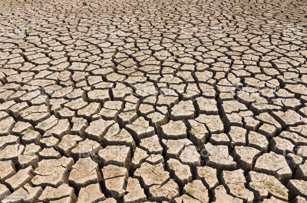 Global warming, Drought in the summer, the ground is dry reservoir of...