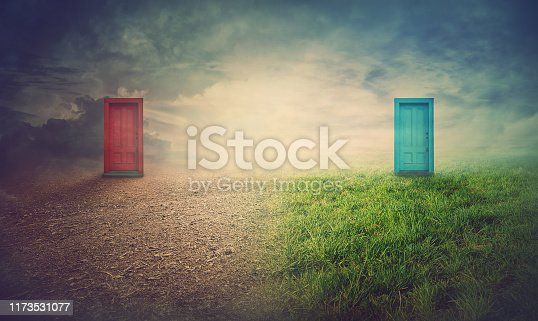 Global warming, environment and climate change concept as half of field is alive and another dead nature. Two doors leading to the near feature. People choice and decisions towards Earth planet.