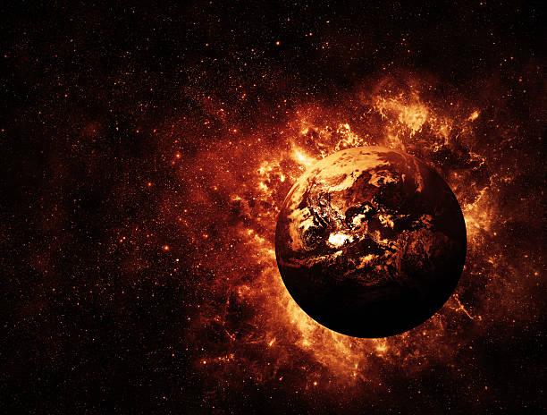 global warming illustration of earth on fire - earth from space bildbanksfoton och bilder