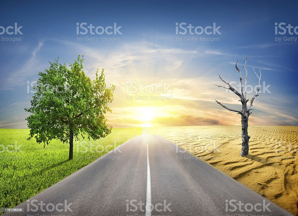 Global warming in nature stock photo