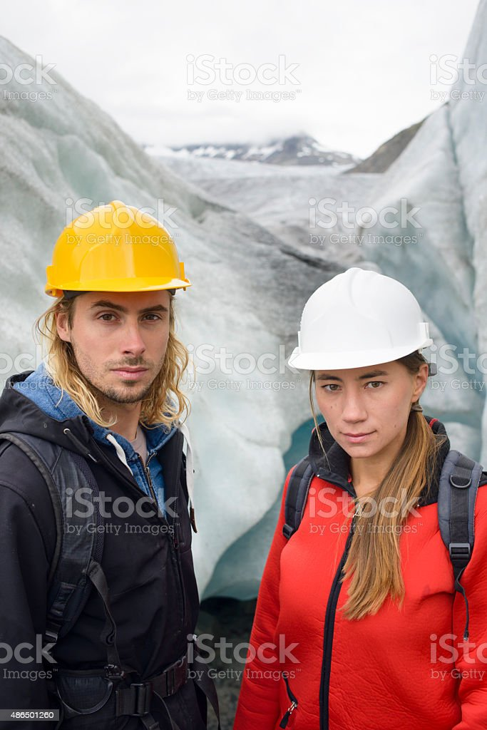 Global Warming: Inspecting the Rhone Glacier in the Swiss Alps royalty-free stock photo