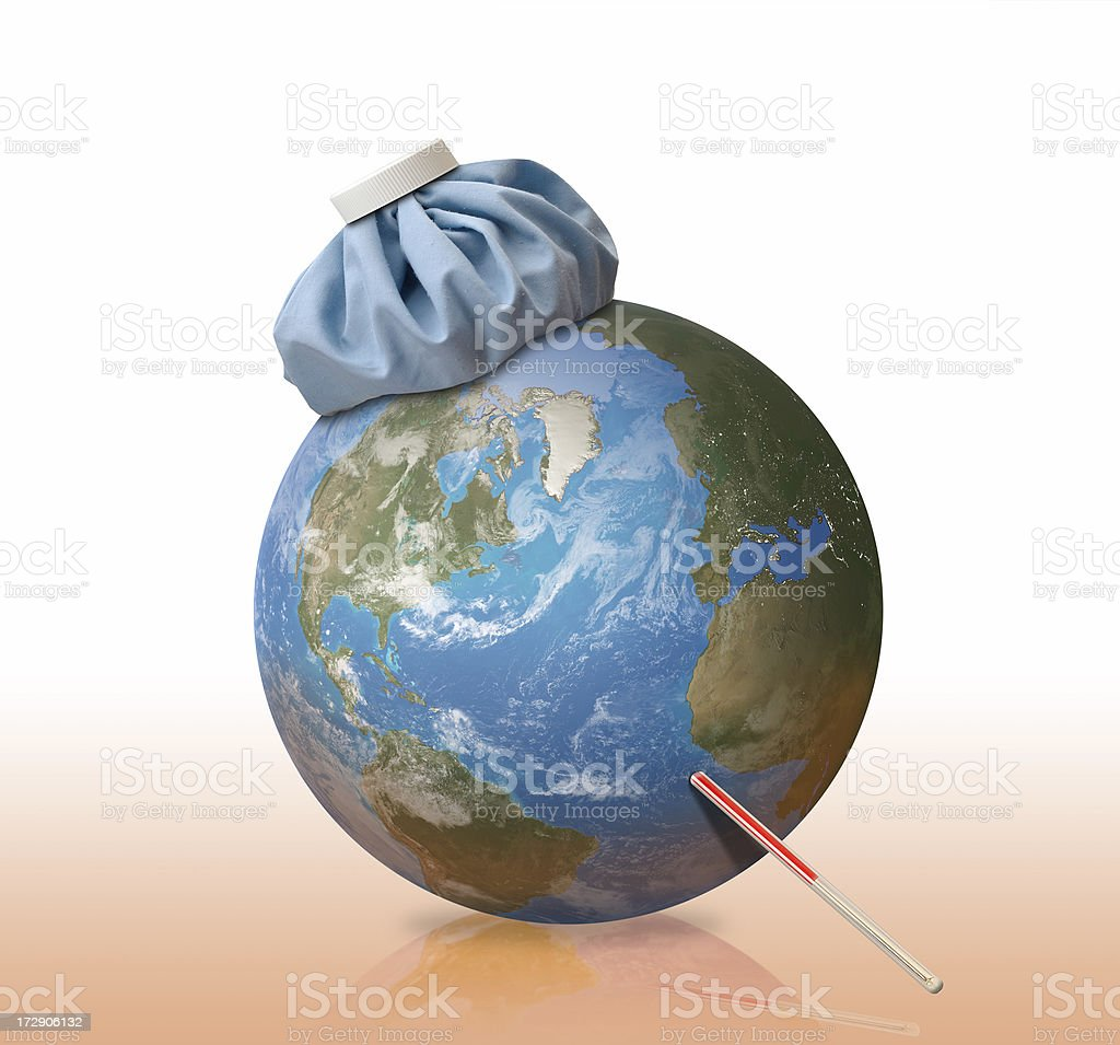 Global Warming Makes Earth Sick with Fever royalty-free stock photo