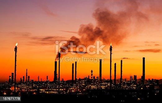 air pollution at petrochemical plant Tarragona Spain