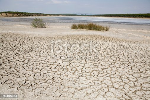 Lake bed drying up due to drought. Global warming