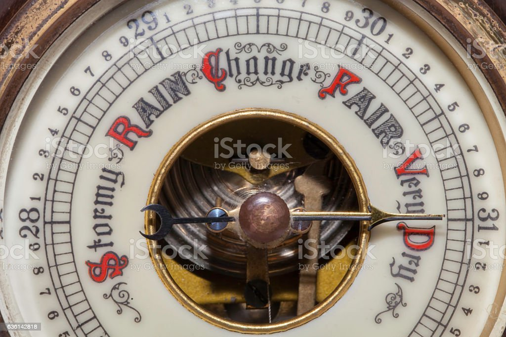Global warming. Very dry weather forecast on a weather barometer - foto de acervo