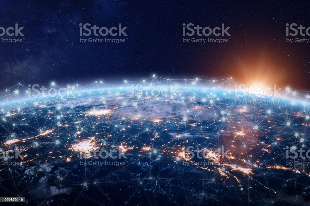 Global world telecommunication network connected around planet Earth, internet technology - foto stock