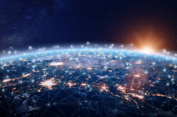 Global world telecommunication network connected around planet Earth, internet technology stock photo