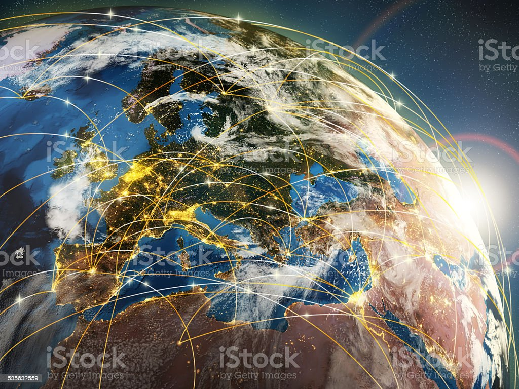 Globalization or communication concept. Earth and luminous rays stock photo