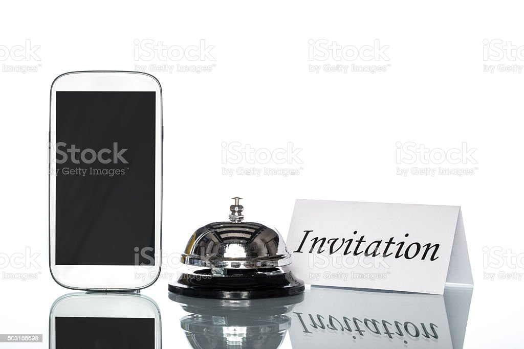 globalization website booking lodging by cell phone, invitation stock photo
