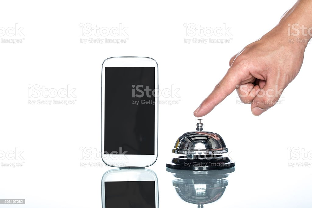 globalization website booking lodging by cell phone stock photo