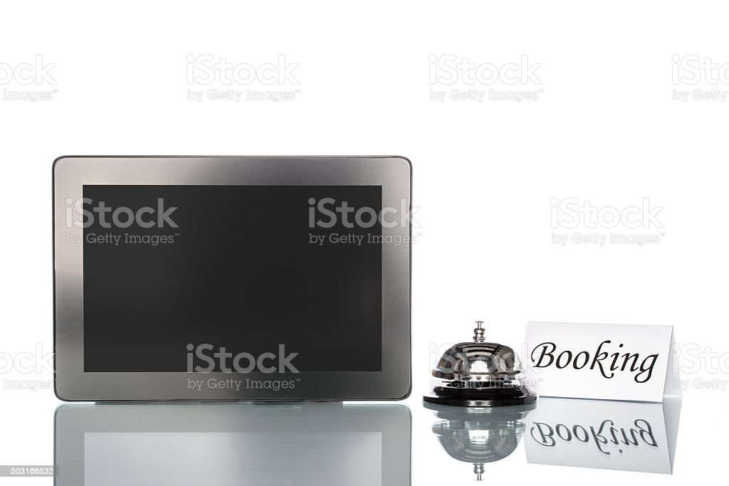 globalization website booking lodging by Laptop stock photo