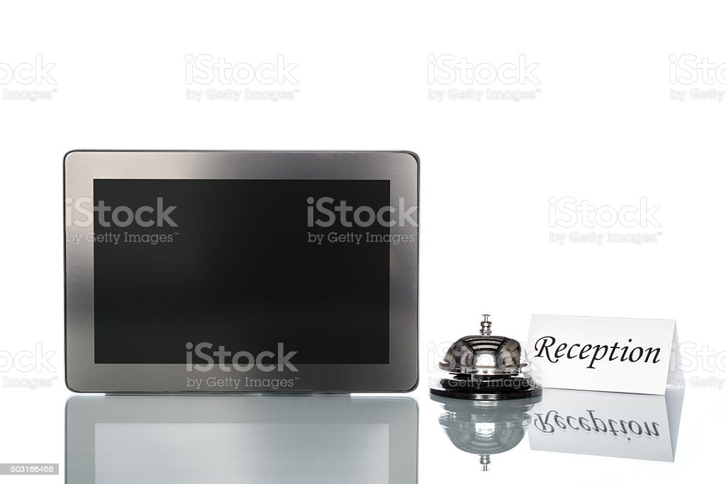 globalization website booking lodging by Laptop, reception stock photo