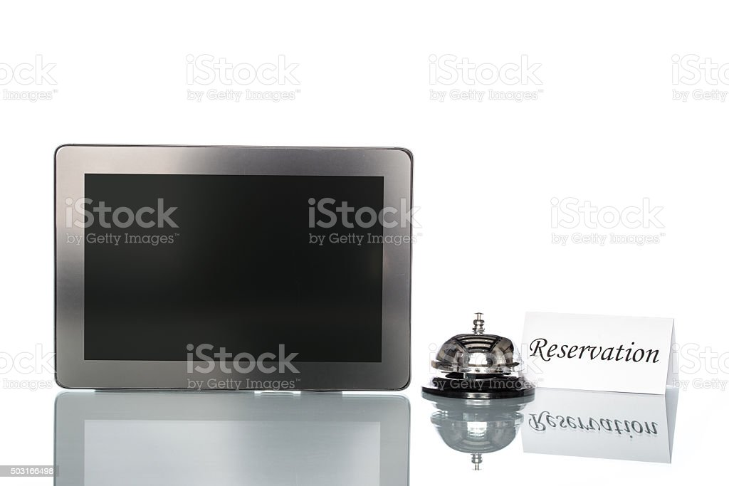 globalization website reserved lodging by Laptop stock photo