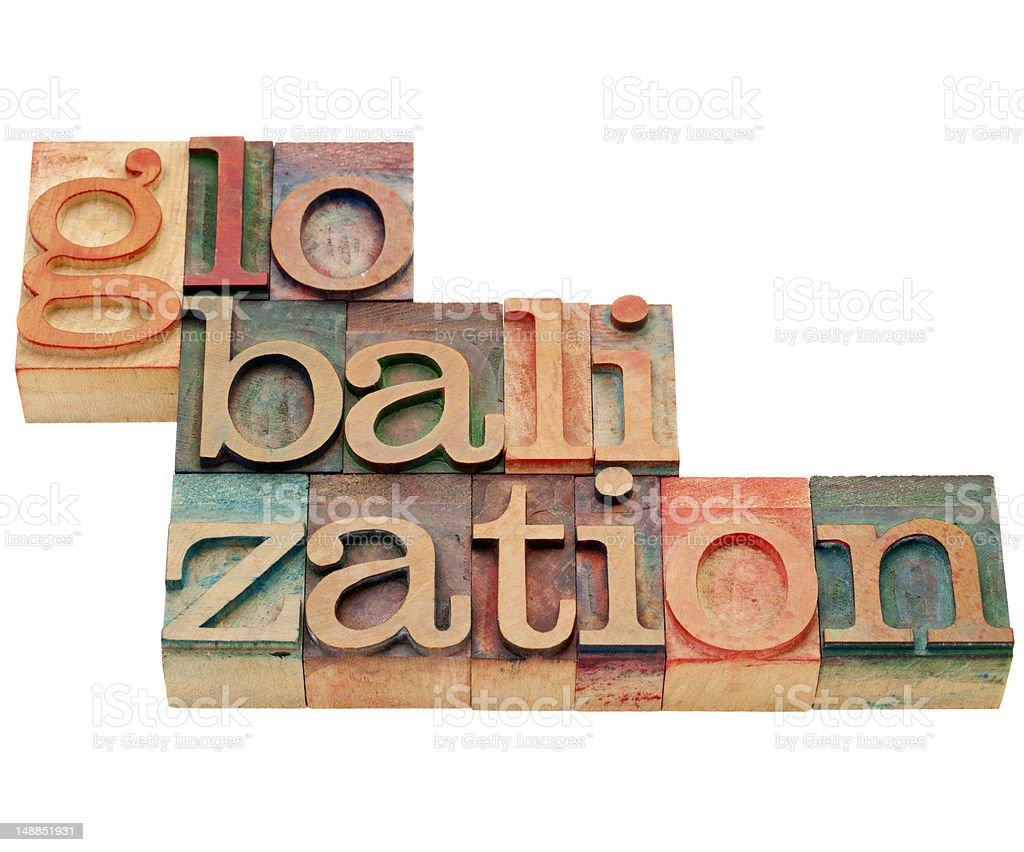 globalization word in letterpress wood type royalty-free stock photo