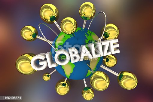 Globalize International Spread Relationships Connected Spheres 3d Illustration