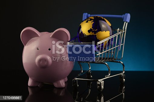 A concept based on globalized shopping accounts with a pig bank and globe and grocery cart.