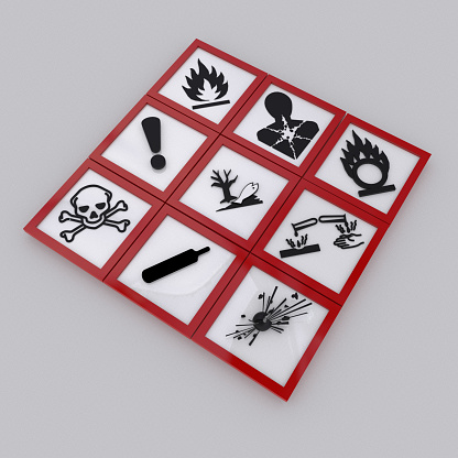 All nine (9) symbols for Globally Harmonized System of Classification and Labeling of Chemicals or GHS