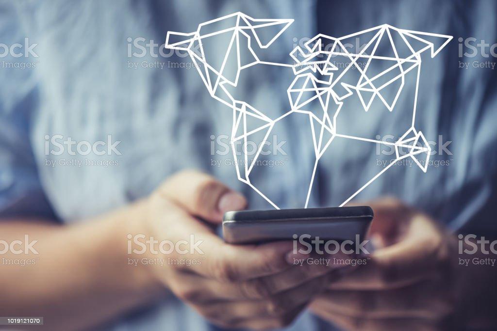 Trauring, verbunden durch ein smartphone – Foto
