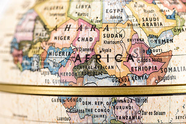 Globe Africa Close-up of Africa in the colorful world map. east africa stock pictures, royalty-free photos & images