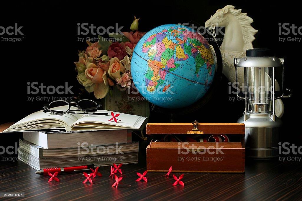 Globe and book stock photo