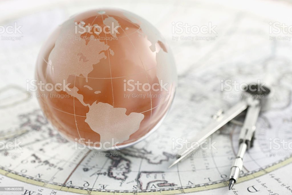 Globe and Compass royalty-free stock photo