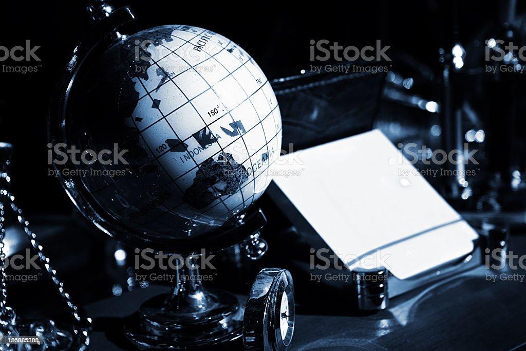 Globe and decorative objects royalty-free stock photo