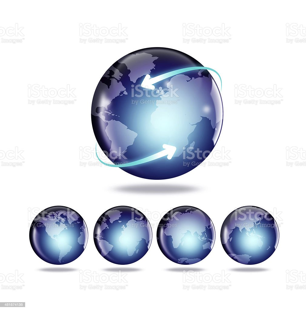 Globe and map of the world royalty-free stock photo