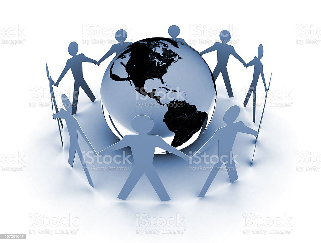 Globe and people - Earth Care royalty-free stock photo